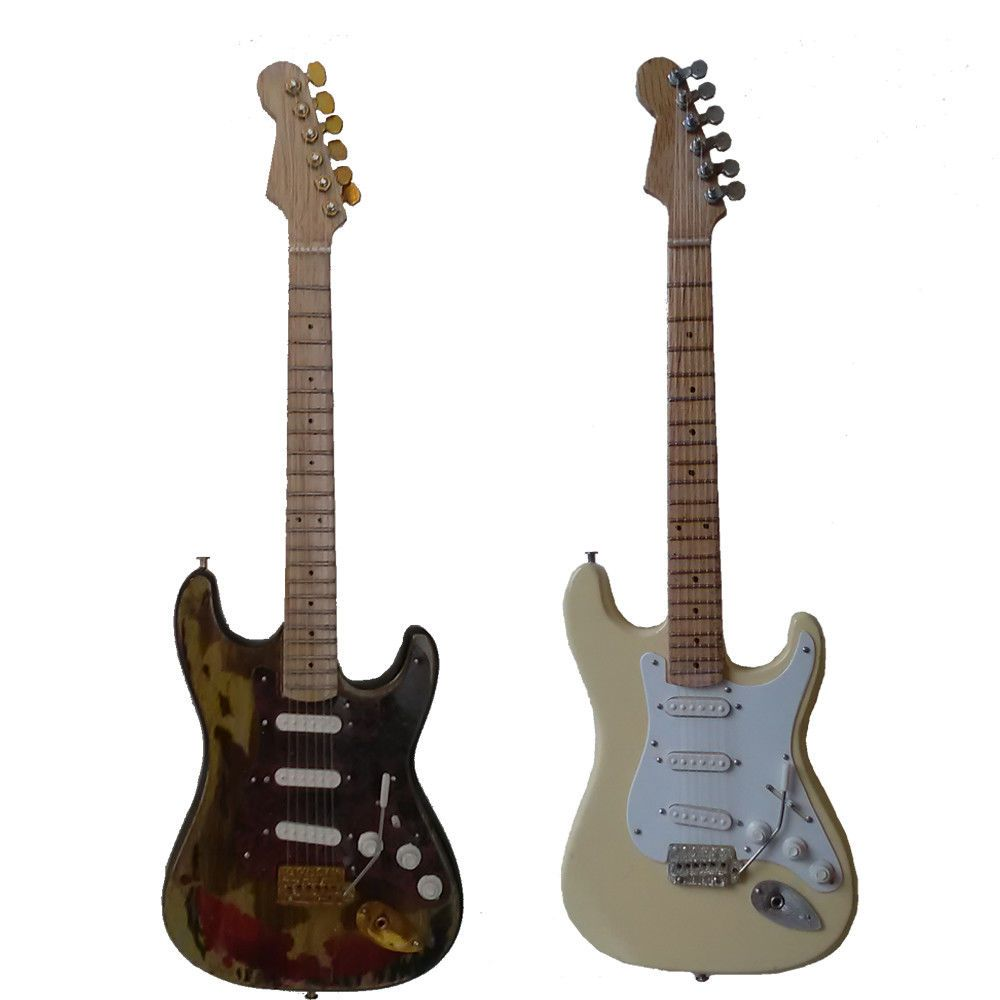Jimi Hendrix (Burnt and Cream Stratocasters) - Miniature Guitar Set